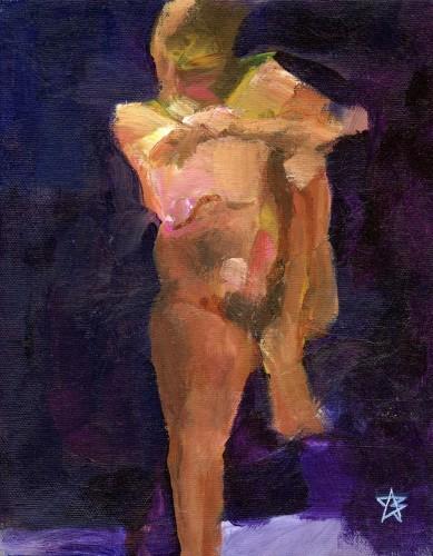 Nude holding knee