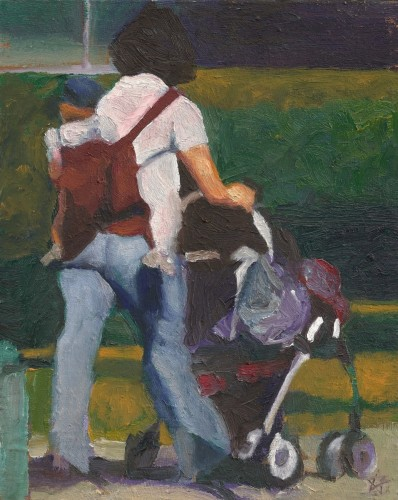 Mother with Child in red bag