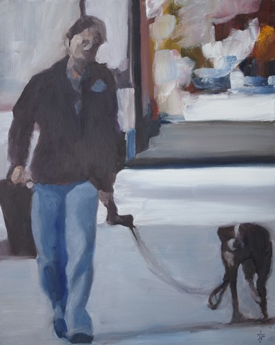 2 figures with leash