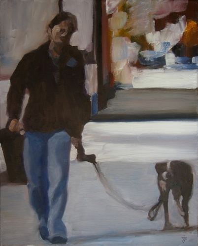 Figure and dog (gray)