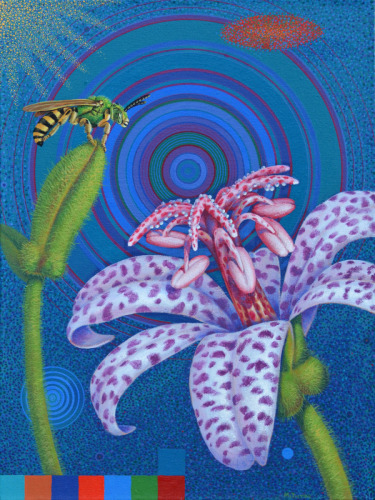 Toad Lily and Green Metallic Bee