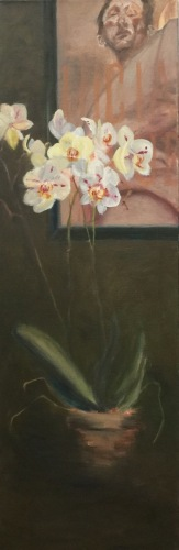 Lucian Freud with Orchids I