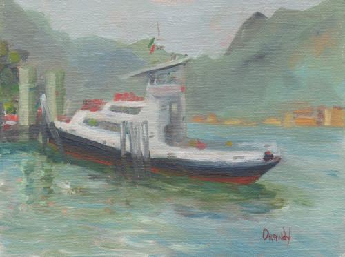 Lake Como - Black & Red Vessle