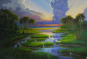 OIL PAINTING SHOWING A BEAUTIFUL SUNSET OVER THE LOW COUNTRY MARSH AND CREEKSHARBOR, MAINE (thumbnail)