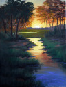 OIL PAINTING SHOWING A BEAUTIFUL SUNSET OVER THE LOW COUNTRY MARSH AND CREEKS (thumbnail)