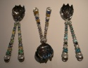 GLASS BEADED STAINLESS STEEL SALAD SERVING SET (thumbnail)