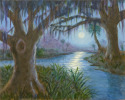 Full moon rising over a creek in coastal South Carolina. Two grand oaks tower over the creek. Moonlight shimmers on the creek. (thumbnail)