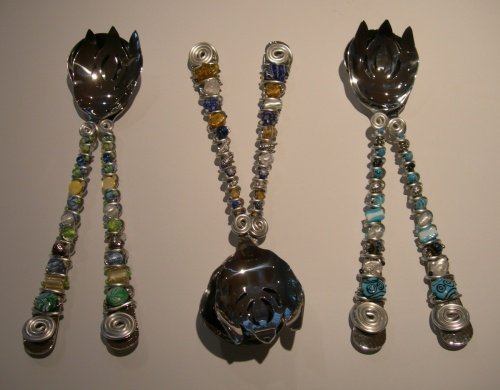 ANOTHER EXAMPLE OF GLASS BEADED STAINLESS STEEL SALAD SERVING SETS