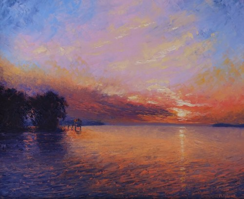PALLET KNIFE OIL PAINTING OF A SUNSET LIT MARSH (large view)