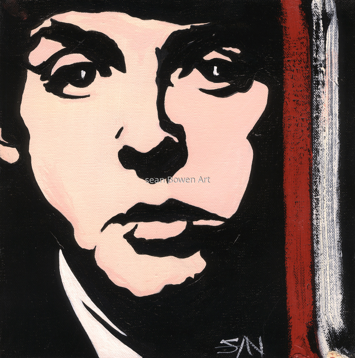 Figurative Acrylic Paintings Macca Paul McCartney By Sean Bowen Art