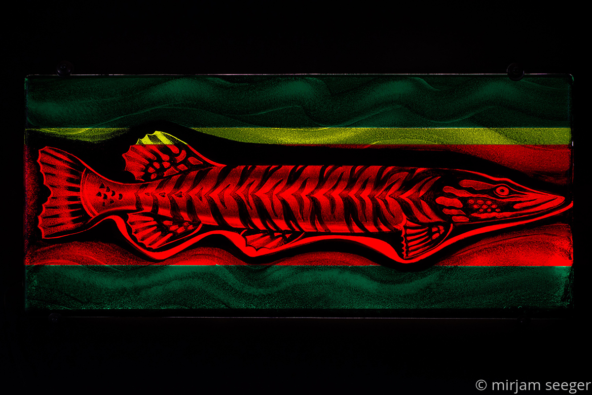 Abstract Colored Glass: Red Fish by mirjam seeger glass