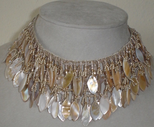 Beige Fringe Necklace