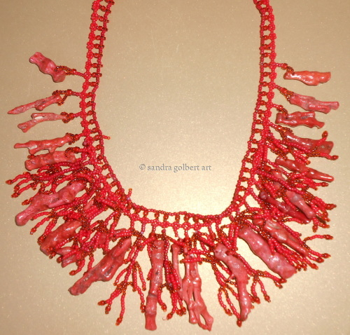 Coral Droplet Necklace