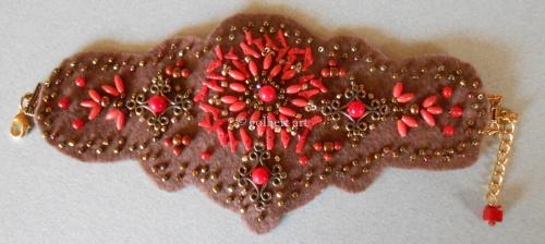 Felt Bracelet - Coral