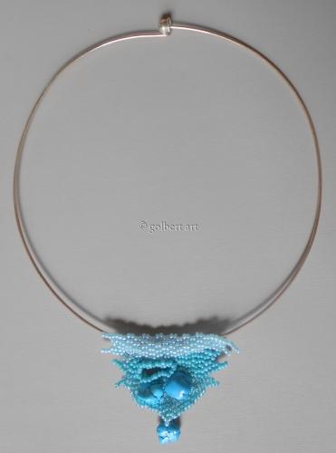 NeckRing with Turquoise TreeBark Pendant