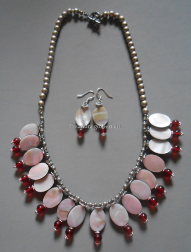 Mother of Pearl with Red Beads