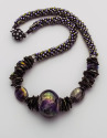 Art glass beads with freshwater pearls with a bead woven rope. (thumbnail)