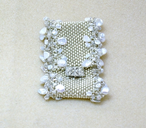 Silver, Pearl & Crystal Cuff (large view)