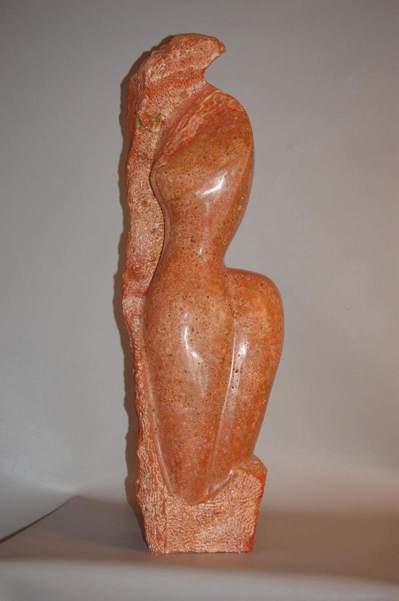 Red Travertive Stone sculpture (large view)