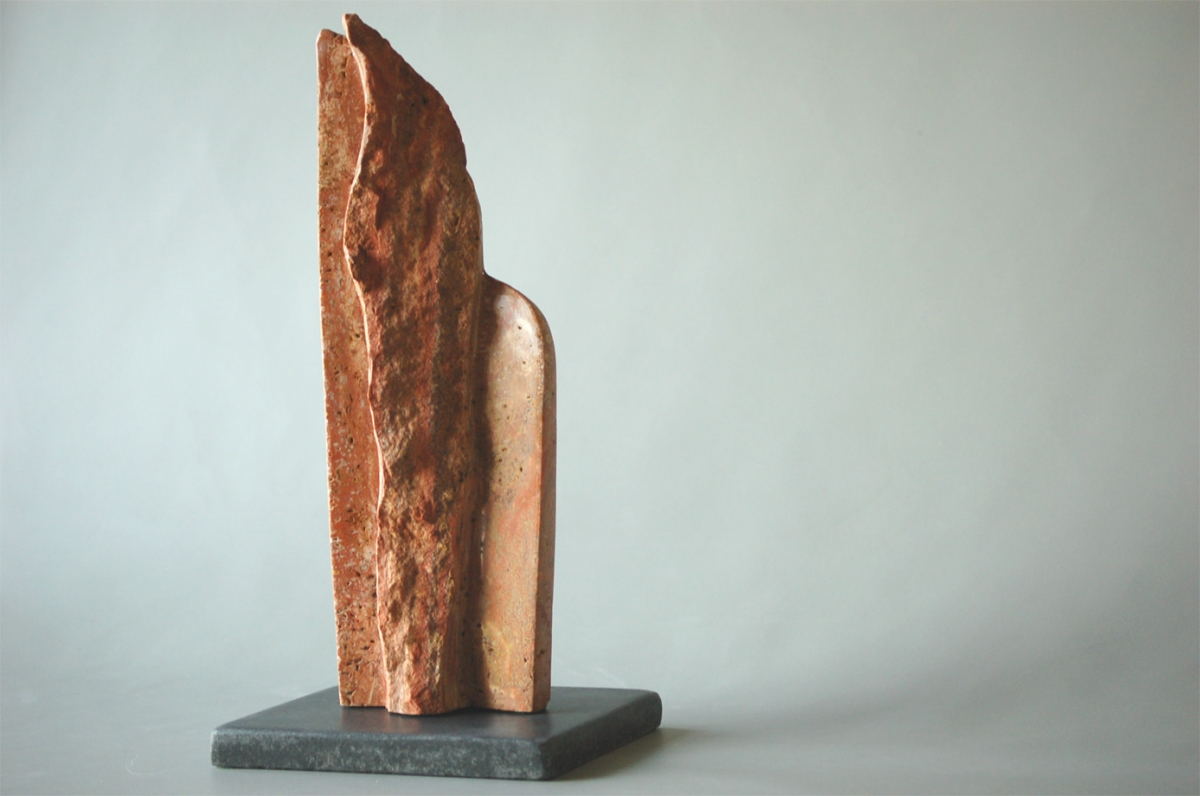 Untitled Travetine  Table Top Sculpture with Granite Base (large view)