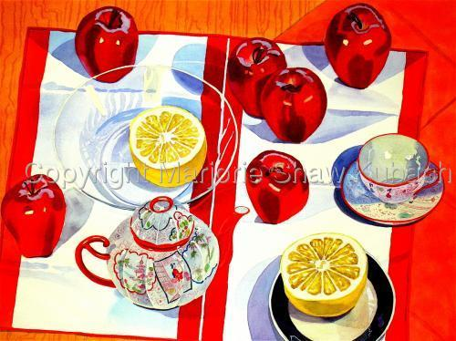 Apples, Grapefruit, Chinese Teapot & Cups by Marjorie Shaw Kubach
