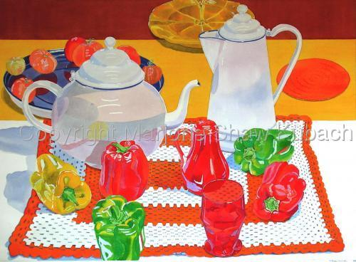 White Tea & Coffee Pots, Peppers & Tomatoes by Marjorie Shaw Kubach