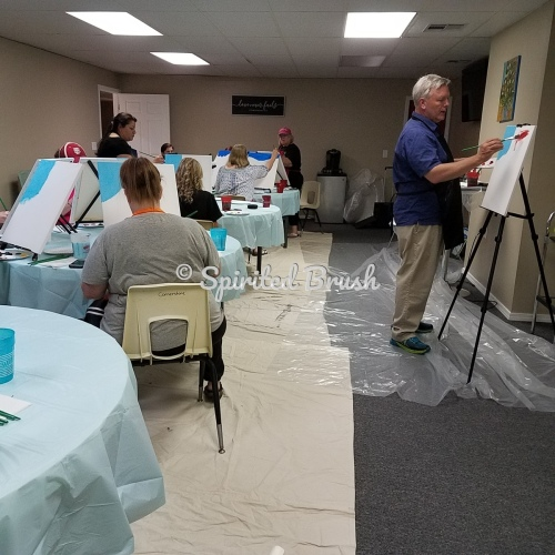 Shawn teaching both paint designs