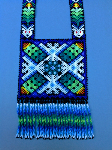 Huichol beaded necklace: Cactus center radiating Eagles, Corn, and Deer