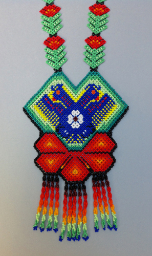 Huichol beaded necklace: Dual-headed Eagle rising from Cactus