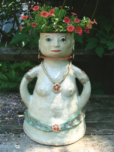 Flower Pot Head lady by Sheila Watson Coutin