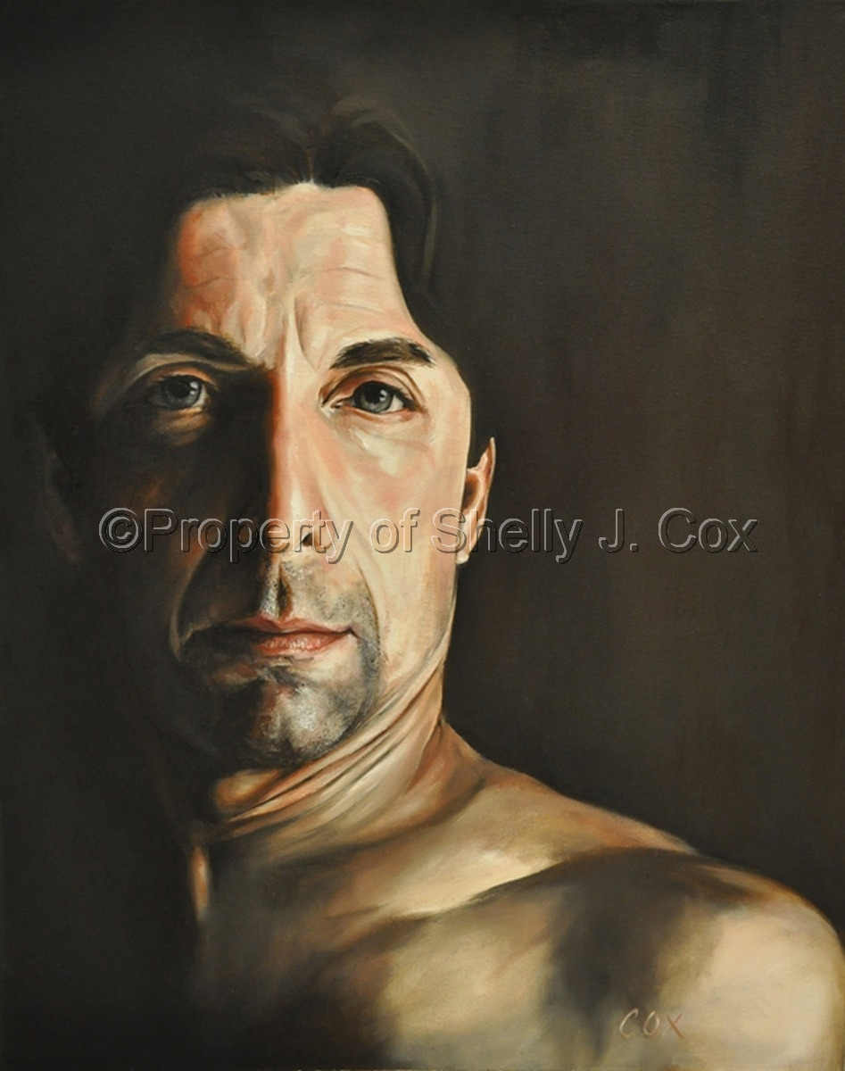Oil on canvas neo classical portrait of a man painted by artist Shelly J. Cox.    (large view)