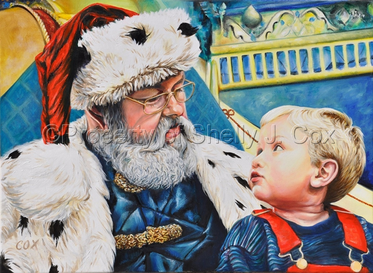 Oil on canvas classical portrait of a child with Santa by artist Shelly J. Cox.   (large view)