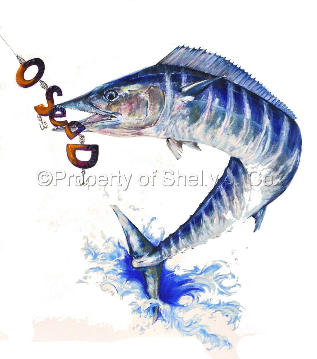 Wahoo jumping out of the ocean to catch O-SEA-D bait by Hot Girl Graphics LLC artist Shelly J. Cox.  (large view)