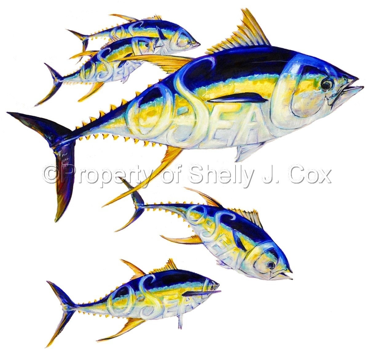 Yellowfin Tuna with O-SEA-D logo painted inside the fish body by Hot Girl Graphics LLC artist Shelly J. Cox. (large view)
