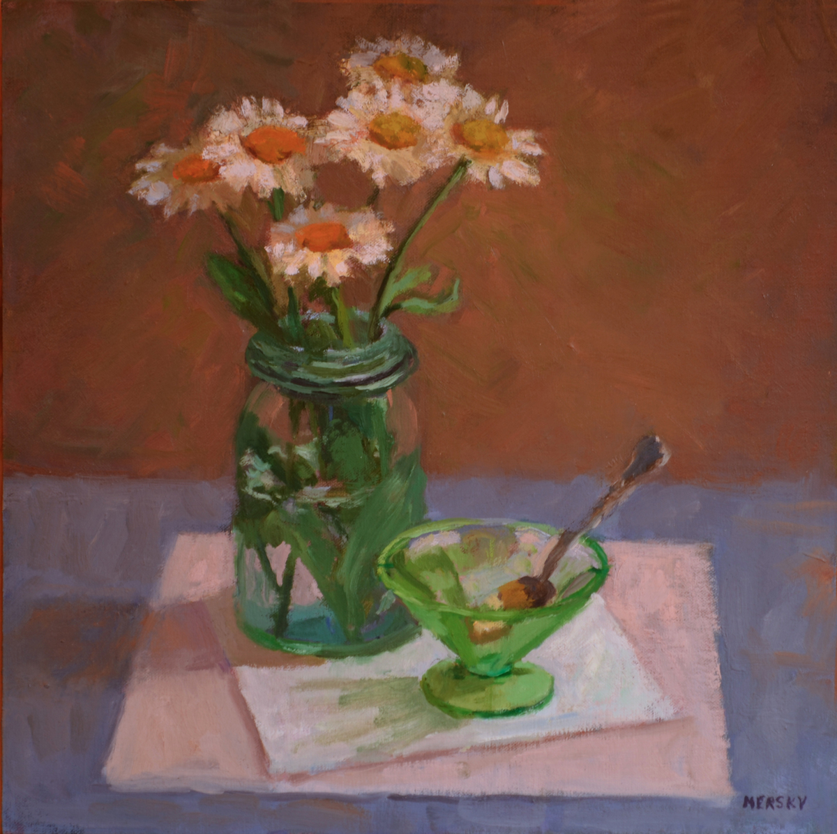 Daisies and Green Glass (large view)