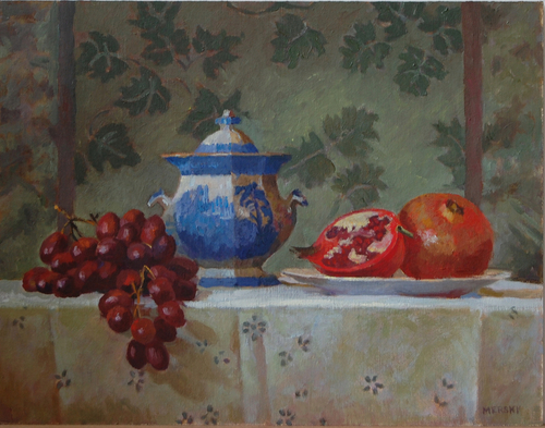 Sugar Bowl with Grapes and Pomegranates (large view)
