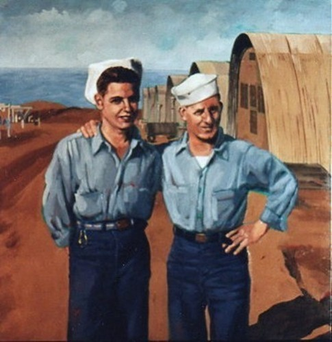 Two Navy men on the north coast of Africa during WWII. (large view)