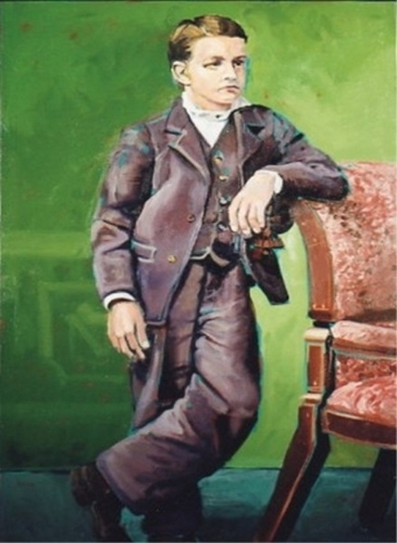 Colorful, full figure portrait of a boy in a suit standing beside a chair, circa early 1900s. (large view)