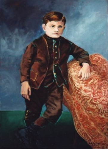 Child in a brown suit standing next to a rug. (large view)