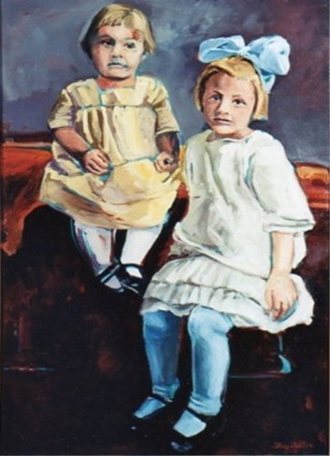 Two children, one in a white dress with a blue bow and one in a yellow dress. (large view)
