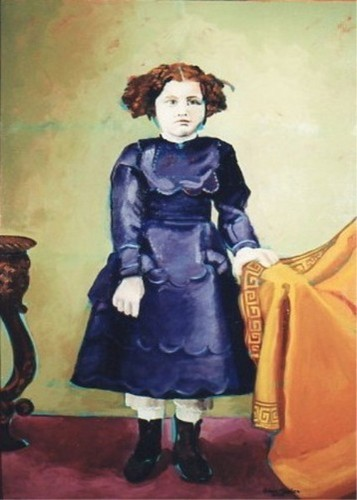 Standing child in a blue dress. (large view)
