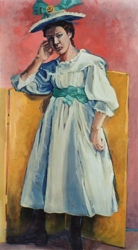 Woman in a blue/white dress with a fancy hat. (large view)