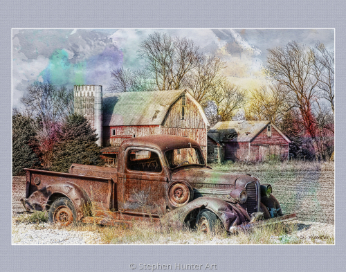 Old truck and barn