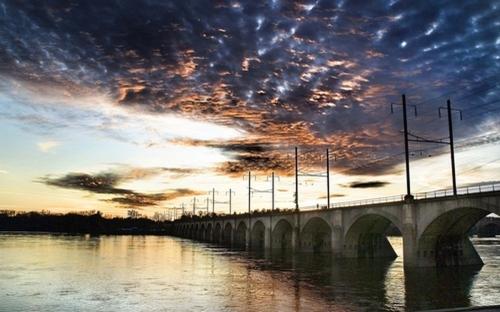 R.R. Bridege at sunset. (large view)