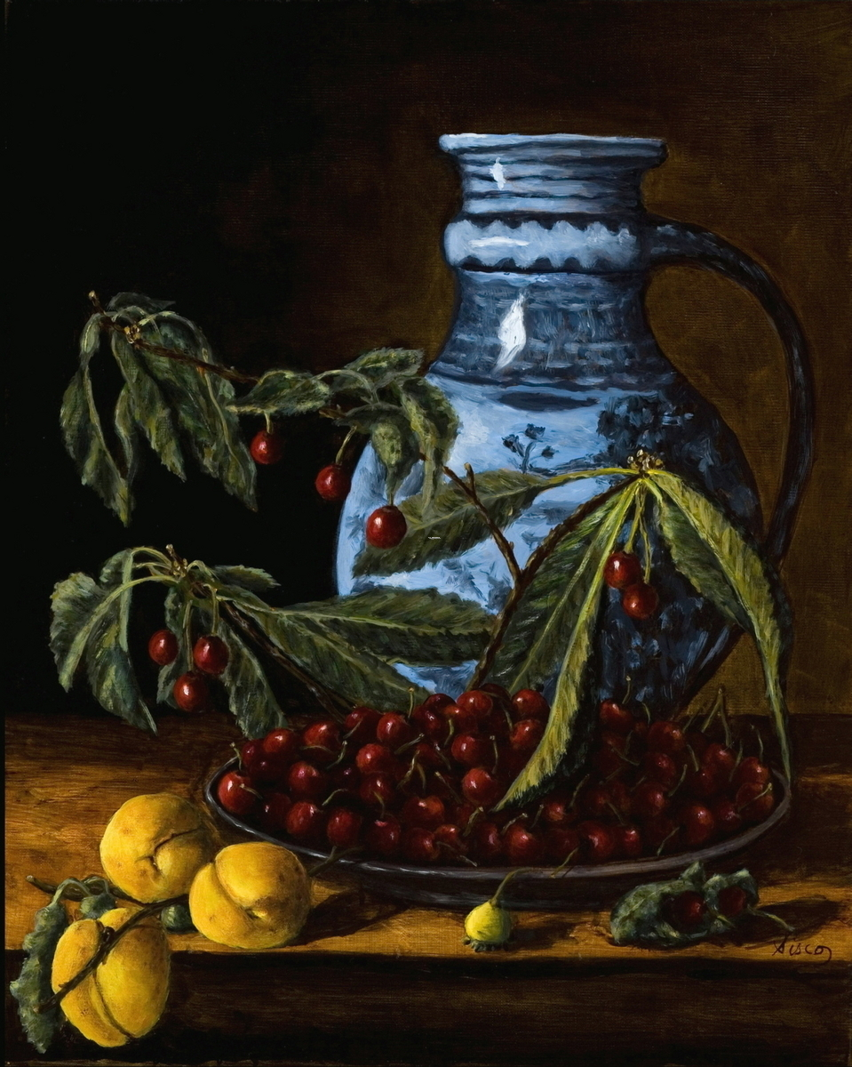 Old Master with Blue Vase and Cherries (large view)