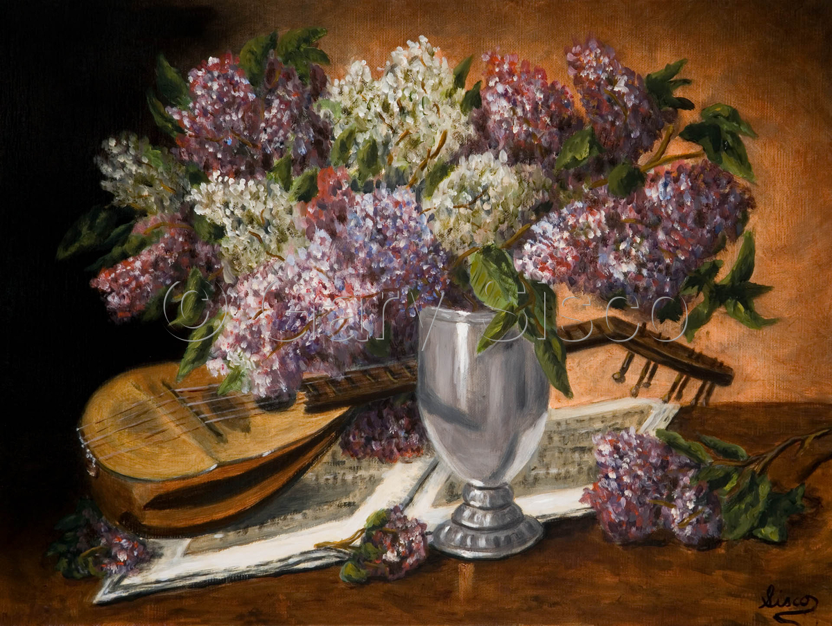 Still life with mandolin and lilacs (large view)