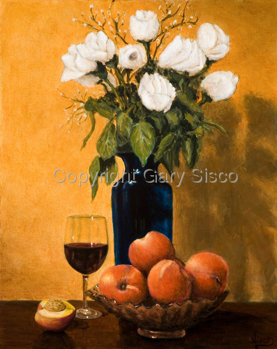 Still life with Wine and Roses by Gary Sisco
