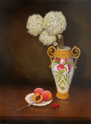 Gold Vase with fruit and flowers