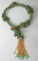 Gold & Teal Trumpet wired neckpiece (thumbnail)