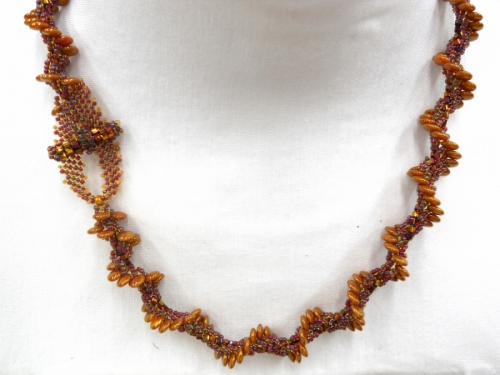 Caramel Lentil Spiral Rope necklace
